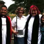 The service is done, Bishop Jonathan poses with our churchwarden Teresa - and newly installed priest-in-charge Rachel and daughter