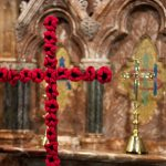 Woolen poppies decorate the altar