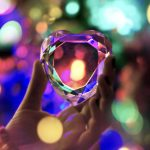 Heart of crystal on bokeh background